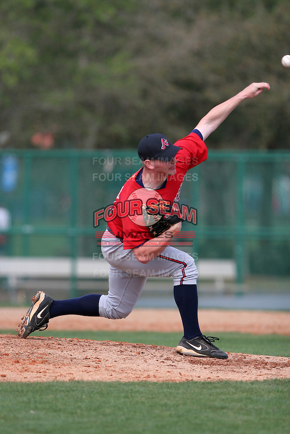 Atlanta Braves minor leaguer Adam Stanley during Spring Training at Disney's Wide World of Sports on March 14, 2007 in Orlando, Florida.  (Mike Janes/Four Seam Images)