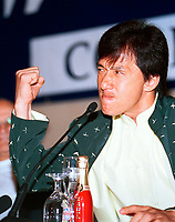 HK actor and director Jackie Chan  close his fist as he  speak about his work, in a press conference  before receiving a Special Grand Prize of the Americas, from <br /> Montreal World Film Festival's President &amp; founder ; <br /> Serge Losique, Sept 1st , 2001 in Montreal, CANADA.