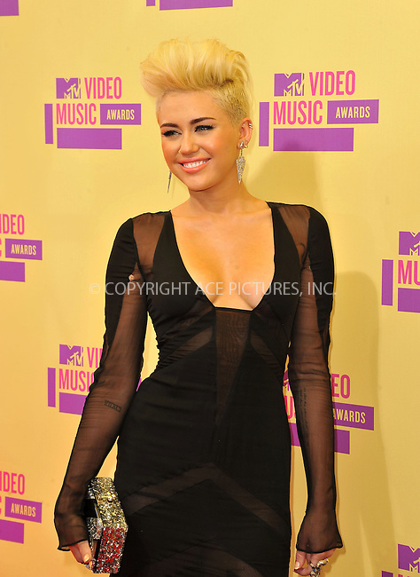 WWW.ACEPIXS.COM....September 6, 2012, Los Angeles, CA.......Miley Cyrus arriving at the 2012 MTV Video Awards at the Staples Center on September 6, 2012 in Los Angeles, California. ..........By Line: Peter West/ACE Pictures....ACE Pictures, Inc..Tel: 646 769 0430..Email: info@acepixs.com