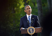 United States President Barack Obama speaks to reporters following the Gulf Cooperation Council-U.S. summit at Camp David on May 14, 2015. Obama hosted leaders from Saudi Arabia, Kuwait, Bahrain, Qatar, the United Arab Emirates and Oman to discuss a range of issues including terrorism and the U.S.-Iran nuclear deal. <br /> Credit: Kevin Dietsch / Pool via CNP