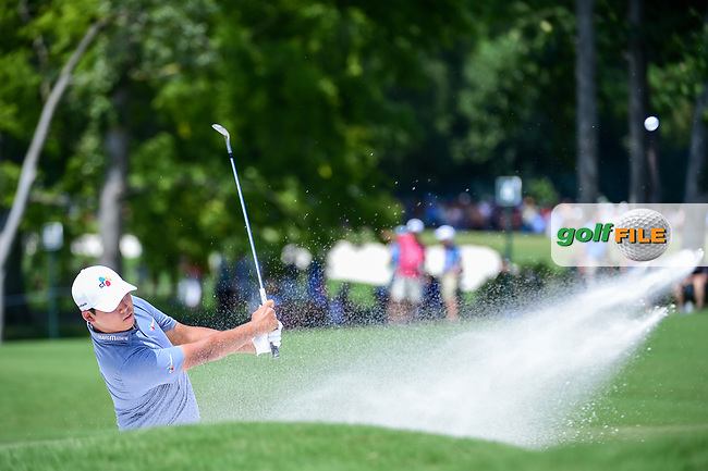 Si Woo Kim (KOR) hits from the trap on 4 during Thursday's round 1 of the PGA Championship at the Quail Hollow Club in Charlotte, North Carolina. 8/10/2017.<br /> Picture: Golffile | Ken Murray<br /> <br /> <br /> All photo usage must carry mandatory copyright credit (&copy; Golffile | Ken Murray)