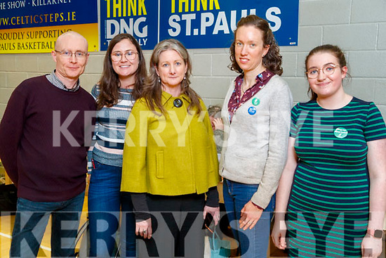 Michael Gavin, Deirdre Sheahan Cleo Murphy, Trisha Holbein and Ashling Rochrord Green Party at the General Election count in Killarney on Sunday.