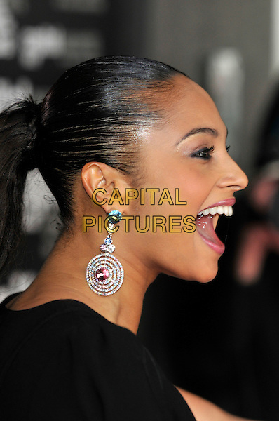ALESHA DIXON.Capital 95.8 Awards for Help a London Child, held at Riverbank Park Plaza Hotel, London, England.20th March 2008..portrait headshot profile earring mouth open.CAP/PL.©Phil Loftus/Capital Pictures