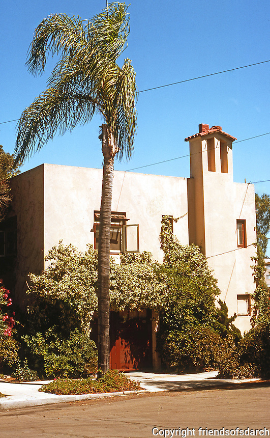 Irving Gill:  Alice Lee House #4, 1912. 3367 Albatross St., San Diego. Photo 1978