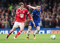 Gary Cahill of Chelsea and Kieran Dowell of Nottingham Forest battle for the ball, Carabao Cup, Third Round, Chelsea v Nottingham Forrest, Stamford Bridge, London, United Kingdom, 20th  September 2017