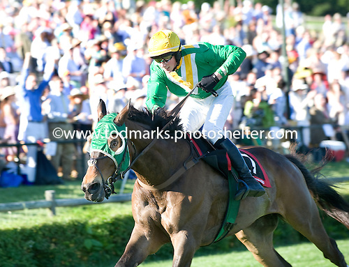Darren Nagle stands up in the irons atop Tax Ruling nearing the wire in the Iroquois.