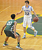 Kyle DeVerna #22 of Kellenberg, right, gets pressured by Arthur Scott #20 of Holy Trinity during the NSCHSAA varsity boys basketball semifinals at LIU Post on Sunday, Feb. 28, 2016. DeVerna recorded 11 points, five assists and five rebounds in Kellenberg's 55-49 win.