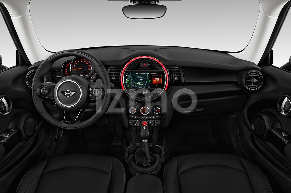 Stock photo of straight dashboard view of a 2019 Mini Cooper Hardtop 2 Door 3 Door Hatchback