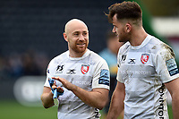 Man of the Match Willi Heinz of Gloucester Rugby speaks with team-mate Mark Atkinson after the match. Gallagher Premiership match, between Harlequins and Gloucester Rugby on March 10, 2019 at the Twickenham Stoop in London, England. Photo by: Patrick Khachfe / JMP