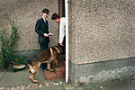 Conservative (Tory) candidate Jacob Rees-Mogg canvasses support in a housing estate in Groban, Leven, part of the Labour-held constituency of Central Fife during the 1997 UK General Election campaign. The son of acclaimed journalist and writer William Rees-Mogg, at the age of 28, this was his first attempt to win a seat at Westminster however he was soundly beaten by the eventual winner Henry McLeish MP. Jacob Rees-Mogg was elected as Member of Parliament for North East Somerset in 2010.