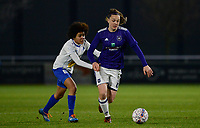 20180126 - OOSTAKKER , BELGIUM : Anderlecht's Tine De Caigny (r) pictured in a duel with Gent's Kassandra Ndoutou eboa Missipo (left) during the quarter final of Belgian cup 2018 , a womensoccer game between KAA Gent Ladies and RSC Anderlecht , at the PGB stadion in Oostakker , friday 27 th January 2018 . PHOTO SPORTPIX.BE | DAVID CATRY