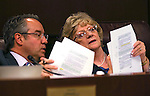 Nevada Sens. Mark Lipparelli, R-Las Vegas, and Joyce Woodhouse, D-Henderson, talk in the Senate Education committee hearing at the Legislative Building in Carson City, Nev., on Thursday, March 26, 2015.    <br /> Photo by Cathleen Allison
