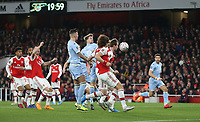 Leeds United's Patrick Bamford with a header towards goal<br /> <br /> Photographer Rob Newell/CameraSport<br /> <br /> Emirates FA Cup Third Round - Arsenal v Leeds United - Monday 6th January 2020 - The Emirates Stadium - London<br />  <br /> World Copyright © 2020 CameraSport. All rights reserved. 43 Linden Ave. Countesthorpe. Leicester. England. LE8 5PG - Tel: +44 (0) 116 277 4147 - admin@camerasport.com - www.camerasport.com