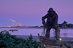 Predawn light over statue at the Eureka Harbor, Humboldt County, CALIFORNIA