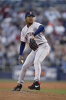 Pedro Martinez of the Boston Red Sox pitches during a 2002 MLB season game against the San Diego Padres at Qualcomm Stadium, in San Diego, California. (Larry Goren/Four Seam Images)