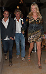 .May 5th 2012..Rod Stewart holding hands with  Penny Lancaster as they couple left Bouchon Restaurant in Beverly Hills. Rod was wearing a blue blazer jacket .  Penny was wearing a yellow brown blue green multi color dress ...AbilityFilms@yahoo.com.805-427-3519.www.AbilityFilms.com
