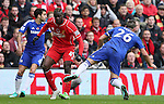 Mario Balotelli of Liverpool catches John Terry of Chelsea late  - Barclays Premier League - Liverpool vs Chelsea - Anfield Stadium - Liverpool - England - 8th November 2014  - Picture Simon Bellis/Sportimage