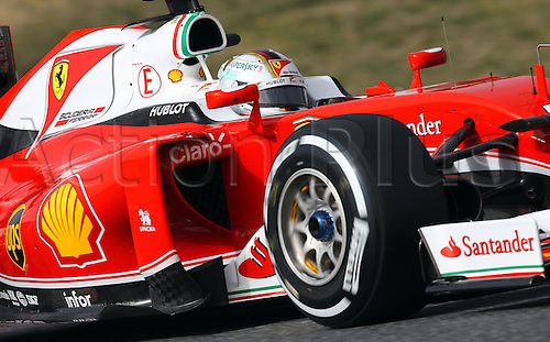 22.02.2016. Barcelona, Spain.  German Formula One driver Sebastian Vettel of Scuderia Ferrari steers the new car SF16-H during a training session for the upcoming Formula One season at the Circuit de Barcelona - Catalunya in Barcelona, Spain.