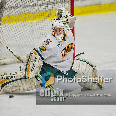 14 February 2015: University of Vermont Catamount Goaltender Madison Litchfield, a Sophomore from Williston, VT, makes third period save against the University of New Hampshire Wildcats at Gutterson Fieldhouse in Burlington, Vermont. The Lady Catamounts rallied from a 3-1 deficit to earn a 3-3 tie in the final home game of their NCAA Hockey East season. Mandatory Credit: Ed Wolfstein Photo *** RAW (NEF) Image File Available ***