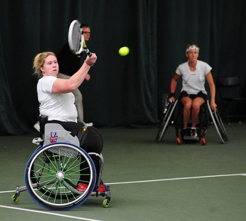 Louise Hunt (GBR) [1], left, and Sabine Ellerbrock (GER) in action during their Women's Doubles Main Draw Final against Lauren Jones (GBR) [2] and Jordanne Whiley (GBR) ..Tennis - ITF Nottingham Indoor Wheelchair Tennis Tournament - Saturday 27th October 2012 - Nottingham Tennis Centre - Nottingham..©Tennis Foundation/James Jordan..www.tennisfoundation.org.uk.info@tennisfoundation.org.uk