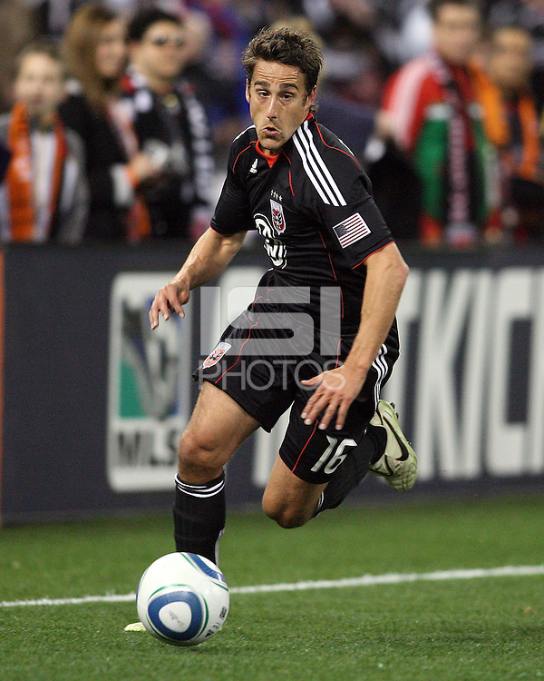 Josh Wolfe#16 of D.C. United scored the first goal during the opening match of the 2011 season against the Columbus Crew at RFK Stadium, in Washington D.C. on March 19 2011.D.C. United won 3-1.