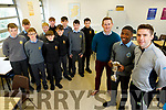 Togor Silong, captain of CBS the Green, holding aloft the Brother Colm Taft Cup with Liam Sullivan (Selector) and Mark O'Shea (Manager) at the school on Wednesday.<br /> Back l to r: Jason Casey, Ger Brosnan, Rory Reen, Adam McDonagh, Stefan Carrag, Sean Whelan, Sean McElligott, Ronan Kelly, Sean Moynihan and Donnagh Murphy.