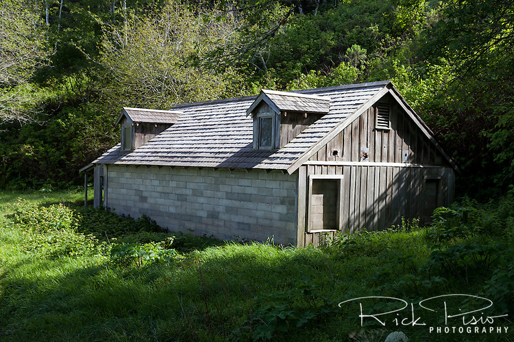 World War II radar staion B71 still stands along the California coast in Redwood National Park. The cinder block structures with shingled roof and fake dormers was meant to look like a farmhouse from the air but in reality housed an early radar station.