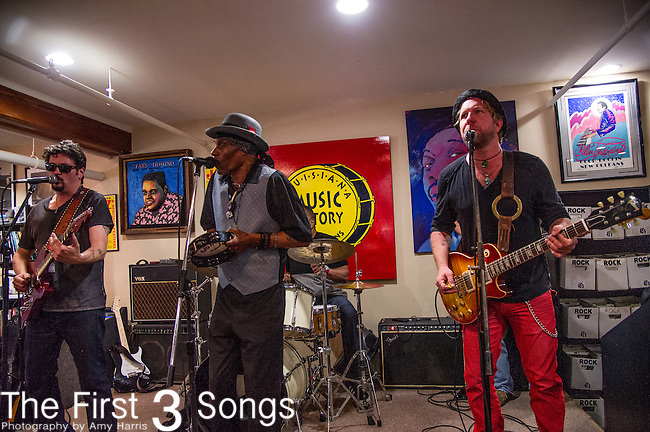 Cyril Neville, Mike Zito, Devon Allman, Yonrico Scott, and Charlie Wooton of the Royal Southern Brotherhood performs at Louisiana Music Factory in New Orleans, LA.