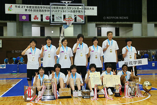 Ohka gakuen team group, <br /> AUGUST 3, 2015 - Basketball : <br /> 2015 All-Japan Inter High School Championships, <br /> Women's Award Ceremony <br /> at Hannaryz Arena, Kyoto, Japan. <br /> (Photo by YUTAKA/AFLO SPORT)
