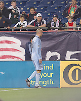 Red card ejected Sporting Kansas City defender Aurelien Collin (78). In a Major League Soccer (MLS) match, the New England Revolution defeated Sporting Kansas City, 3-2, at Gillette Stadium on April 23, 2011.