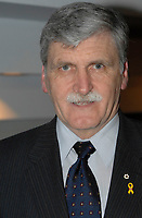 EXCLUSIVE PHOTO <br /> Senator Romeo Dallaire speak at a fundraiser event in Montreal, CANADA, February, 12, 2007<br /> <br /> <br /> Lieutenant-General Roméo Alain Dallaire, OC, CMM, GOQ, MSC, CD, B.Sc, LL.D (University of Saskatchewan(Granting: 2007) (h.c.) (born June 25, 1946 in Denekamp, The Netherlands) is a Canadian senator, humanitarian, author and retired general. Dallaire is widely known for having served as Force Commander of UNAMIR, the ill-fated United Nations peacekeeping force for Rwanda between 1993 and 1994, and for trying to stop a war of genocide that was being waged by Hutu extremists against Tutsis and Hutu moderates.<br /> <br /> Photo : (c) Michel Karpoff - images Distribution