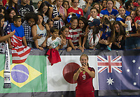 Carson, CA - Thursday August 03, 2017: Lindsey Horan, Fans during a 2017 Tournament of Nations match between the women's national teams of the United States (USA) and Japan (JAP) at StubHub Center.