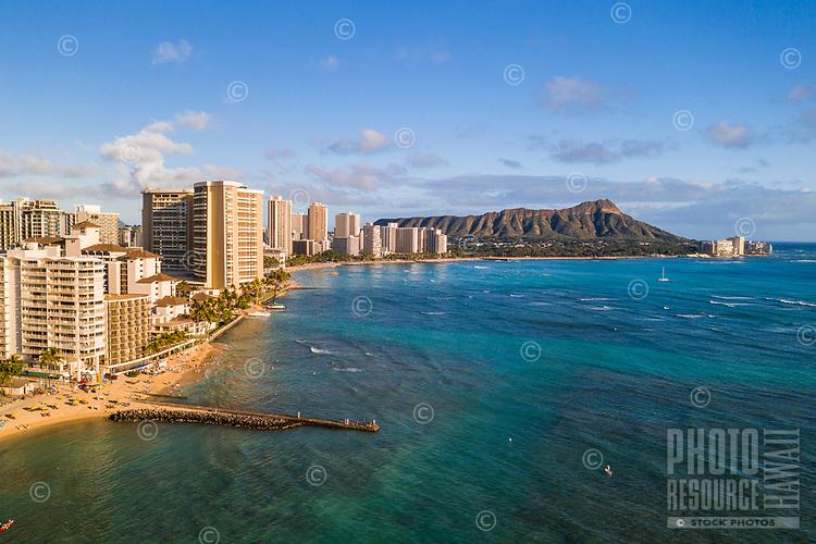 Aerial afternoon view of O'ahu's Waikiki, Diamond Head and the Gold Coast, Honolulu, O'ahu.