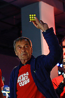 Erno Rubik celebrates the 40th anniversary of his famous cube at the Liberty Science Centre in Jersey City , April 26, 2014. Invented in 1974 by Professor Erno Rubik, the Rubik's cube becoming the world's fastest-selling toy. VIEWPRESS/Kena Betancur
