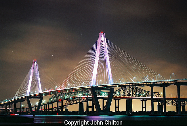 Photo of Ravenel Bridge in purple