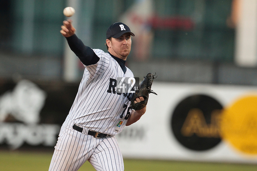 05 June 2010: Justin Staatz of Rouen pitches against Bologna during the 2010 Baseball European Cup match won 10-0 by Fortitudo Bologna over the Rouen Huskies, at the AVG Arena, in Brno, Czech Republic.
