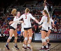 STANFORD, CA - November 4, 2018: Meghan McClure, Holly Campbell, Jenna Gray at Maples Pavilion. No. 2 Stanford Cardinal defeated the Utah Utes 3-0.