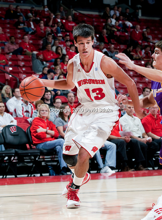 Wisconsin Badgers forward Duje Dukan (13) handles the ball during an NCAA exhibition basketball game against the Minnesota State Mavericks at the Kohl Center in Madison, Wisconsin on November 10, 2010. The Badgers won 93-59. (Photo by David Stluka)