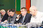 County Board Chairman Patrick O'Sullivan addresses the members at the Kerry GAA AGM in the Malton Hotel on Monday listening carefully were l-r: John Joe O'Carroll Treasure, Ger Galvin vice-Chairman and Peter Twiss Secretary