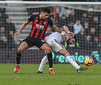 Bournemouth's Dominic Solanke (left) battles Wolverhampton Wanderers' Ruben Neves (right) <br /> <br /> Photographer David Horton/CameraSport<br /> <br /> The Premier League - Bournemouth v Wolverhampton Wanderers - Saturday 23 February 2019 - Vitality Stadium - Bournemouth<br /> <br /> World Copyright © 2019 CameraSport. All rights reserved. 43 Linden Ave. Countesthorpe. Leicester. England. LE8 5PG - Tel: +44 (0) 116 277 4147 - admin@camerasport.com - www.camerasport.com