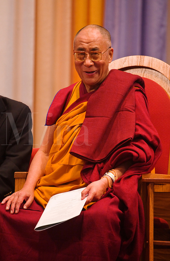 The14th DALAI LAMA of TIBET attends an INTERFAITH PRAYER SERVICE - ST PAUL CATHOLIC CENTER, BLOOMINGTON, INDIANA