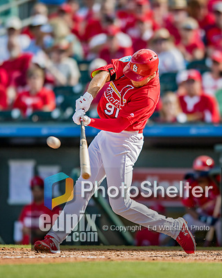 28 February 2019: St. Louis Cardinals top prospect outfielder Dylan Carlson leads off the 8th inning with a double during a Spring Training game against the New York Mets at Roger Dean Stadium in Jupiter, Florida. The Mets defeated the Cardinals 3-2 in Grapefruit League play. Mandatory Credit: Ed Wolfstein Photo *** RAW (NEF) Image File Available ***