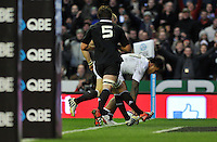 Manu Tuilagi scores a try for England. QBE International match between England and New Zealand on December 1, 2012 at Twickenham Stadium in London, England. Photo by: Patrick Khachfe / Onside Images