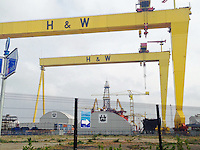 JOHANN MULLER VISITS HARLAND &amp; WOLFF BELFAST -    Wednesday 30th April 2014<br /> <br /> Just eights small red dots - the visitors on top of the Samson crane during their Harland &amp; Wolff shipyard in Belfast.<br /> <br /> Mandatory Credit - Photo by Neil Brittain - DICKSONDIGITAL