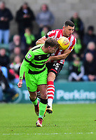 Lincoln City's James Wilson vies for possession with Forest Green Rovers' Dayle Grubb<br /> <br /> Photographer Andrew Vaughan/CameraSport<br /> <br /> The EFL Sky Bet League Two - Lincoln City v Forest Green Rovers - Saturday 3rd November 2018 - Sincil Bank - Lincoln<br /> <br /> World Copyright &copy; 2018 CameraSport. All rights reserved. 43 Linden Ave. Countesthorpe. Leicester. England. LE8 5PG - Tel: +44 (0) 116 277 4147 - admin@camerasport.com - www.camerasport.com