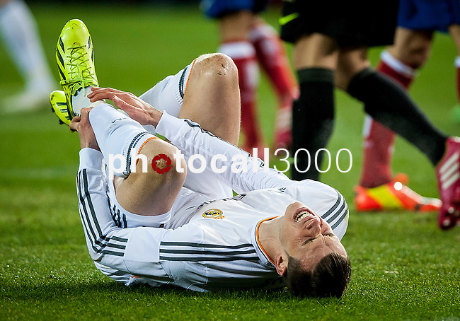 Vicente Calderon. Madrid. Spain. 11.02.2014. Football match between Atletico de Madrid and Real Madrid. Gareth Bale