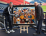 Craig Levein at Hampden with Ayrshire based artist Graham McKean