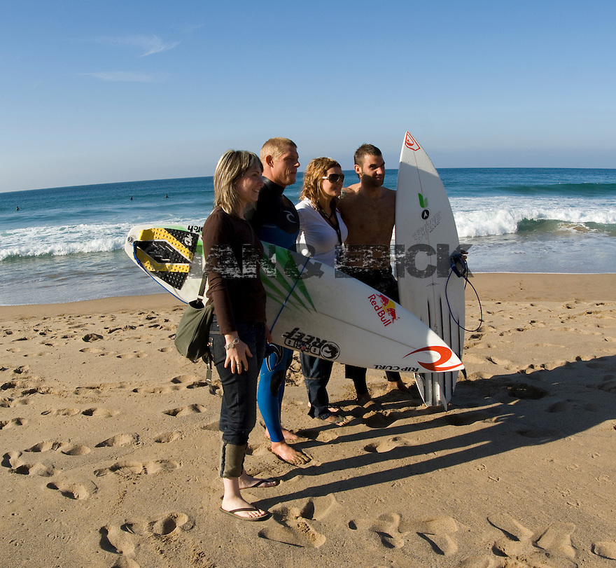 Fans getting their photos taken with Mick Fanning in Bachio, Spain.