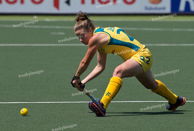 Hockey World Cup 2014<br /> The Hague, Netherlands<br /> Day 1 Womens Australia v Korea<br /> Kate Jenner in action on day 1<br /> Photo: Grant Treeby<br /> www.treebyimages.com.au