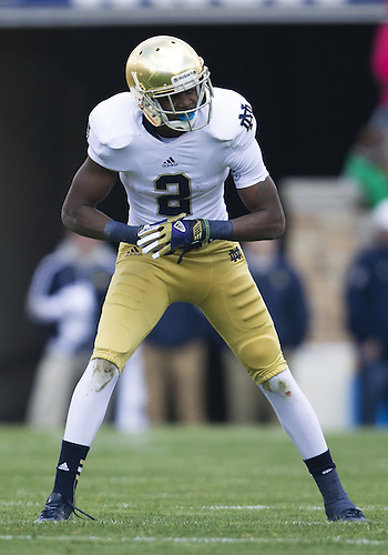 April 20, 2013: Notre Dame Fighting Irish wide receiver Chris Brown (2) during the Notre Dame Blue-Gold Spring game at Notre Dame Stadium in South Bend, Indiana.  The Defense topped the Offense by a score of 54-43.